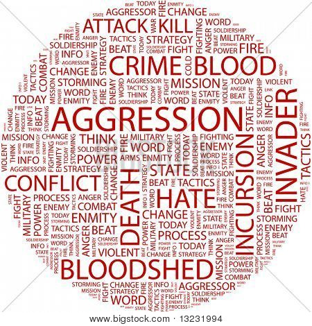 AGGRESSION. Word collage on white background. Vector illustration.