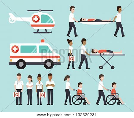 doctors nurses paramedics and medical staffs flat design icon set