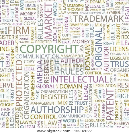 COPYRIGHT. Seamless vector background. Wordcloud illustration.