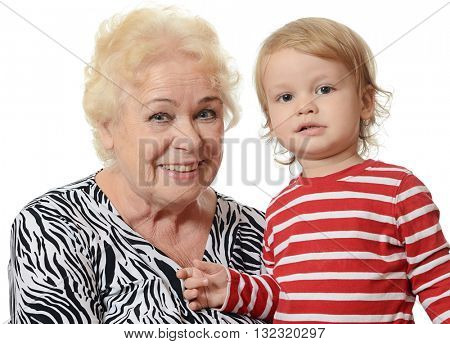 The elderly woman with the little grandson