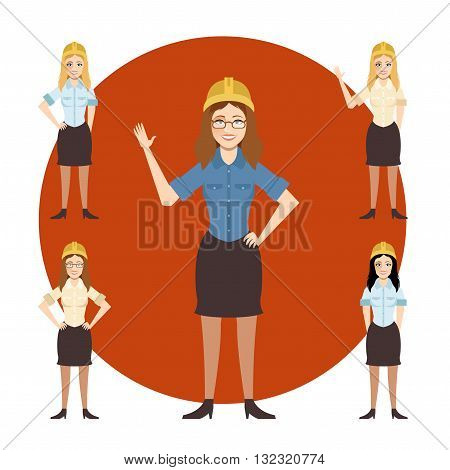 Civil engineer architect and construction workers characters group. Cool vector flat design construction team characters line-up. Group of construction workers in hard hats friendly smiling