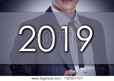 2019 - Young Businessman With Text - Business Concept