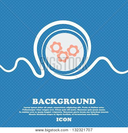 Gears Sign. Blue And White Abstract Background Flecked With Space For Text And Your Design. Vector