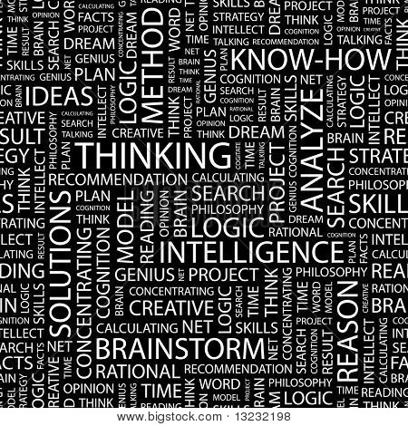 THINKING. Seamless vector pattern with word cloud.