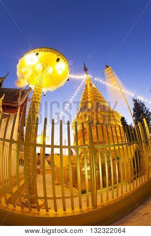 Wat Phra That Doi Kham Buddhist temple in the historic of Chiang Mai Thailand.