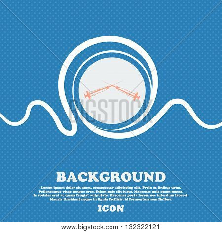 Syringes Sign. Blue And White Abstract Background Flecked With Space For Text And Your Design. Vecto