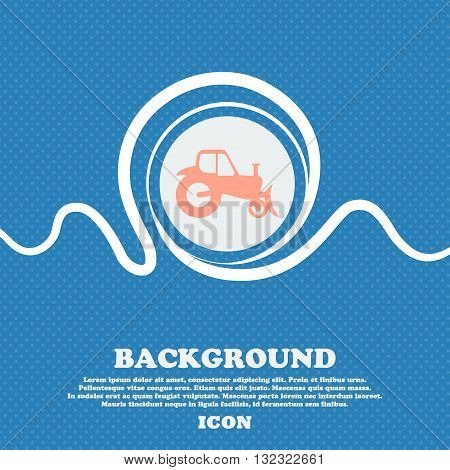 Tractor Sign. Blue And White Abstract Background Flecked With Space For Text And Your Design. Vector