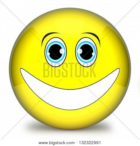Yellow Smiley,emoticon Face Funny 3D