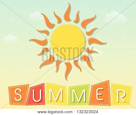 text summer and yellow sun with orange rays over blue sky background, flat design retro style label, vector