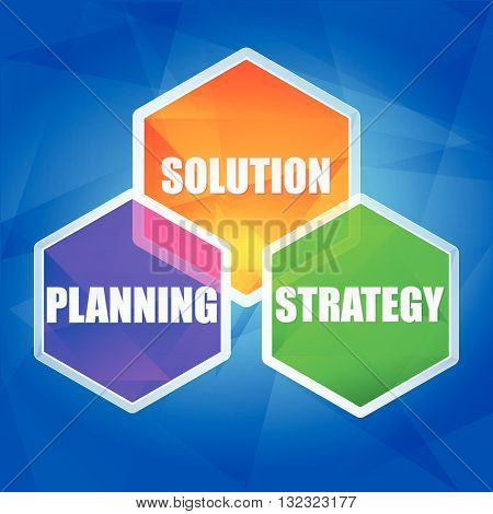 planning, solution, strategy - business growth concept words in color hexagons over blue background, flat design, vector