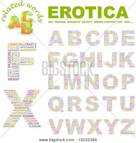 EROTICA. Vector letter collection. Wordcloud illustration.