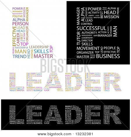LEADER. Word collage. Vector illustration.
