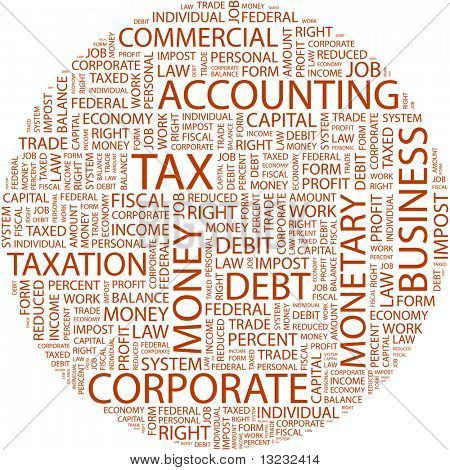 TAX. Word collage on white background. Vector illustration.