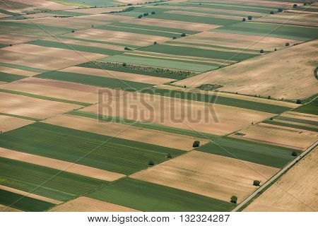 Arable Land In Voijvodina Photographed From Air