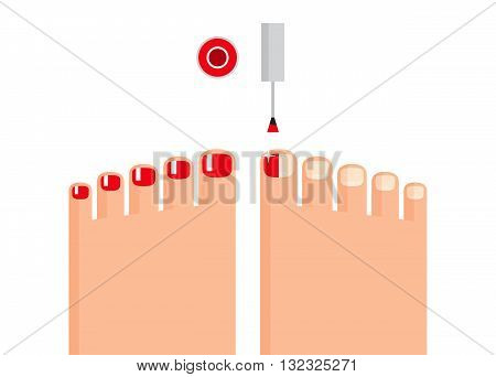 Woman's feet, one foot with colored red nails and another foot is in process of coloring, vial for nail polish and brush above. Trendy pedicure. Stylized flat drawing.