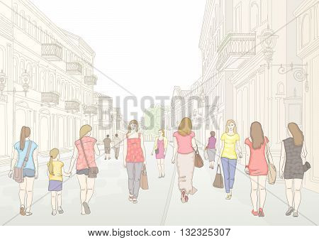 City pedestrian street with people in sunny summer day. Stylized line drawing by hand