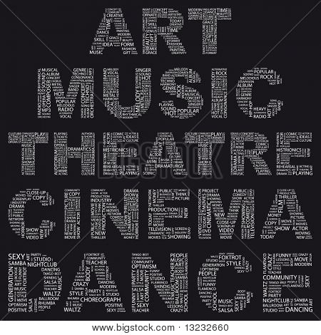ART. Illustration with different art terms in black background. Wordcloud illustration.