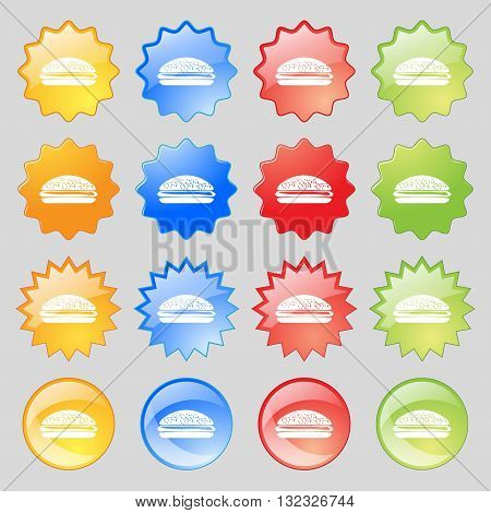 Burger, Hamburger Icon Sign. Big Set Of 16 Colorful Modern Buttons For Your Design. Vector