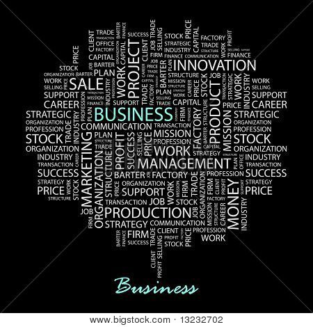 BUSINESS. Word collage on black background. Vector illustration.