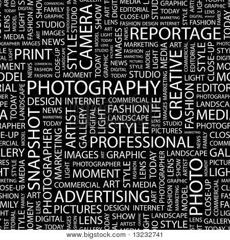 PHOTOGRAPHY. Seamless vector pattern with word cloud.