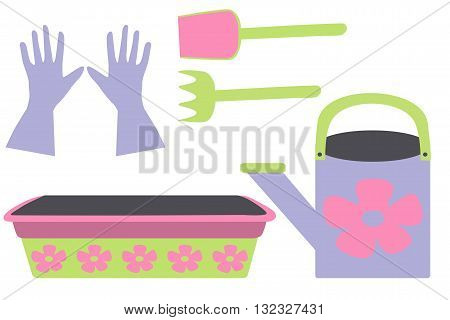 Garden colorful set. shovel, rake, watering can, gloves and plant tray, vector