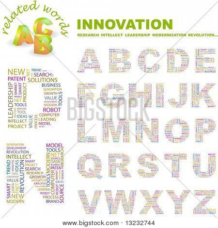 INOVAÇÃO. Coleção de letra vector. Ilustração de wordcloud.