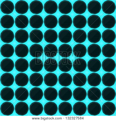 Circles of black stone with blue streaks of energy. Seamless vector texture. Technology seamless pattern.Vector geometric dark background.