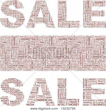 SALE. Illustration with association terms in white background.