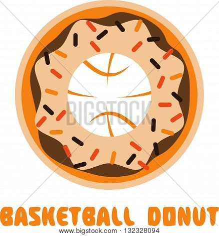 Basketball Donut Negative Space Concept Vector Illustration