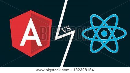 Javascript frameworks icons. Angular vs react. Vector illustration for web development frontend software js coding.