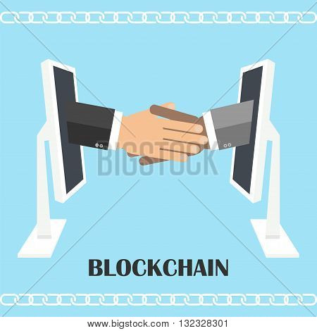 Handshake from computer screen. Vector illustration of blockchain technology secure e- business digital finance operations e-commerce.