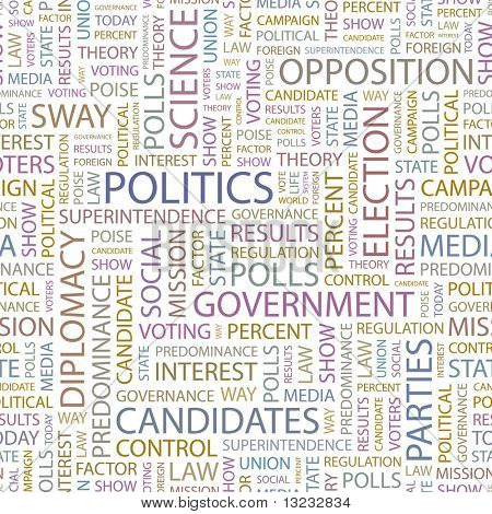 POLITICS. Seamless vector pattern with word cloud.