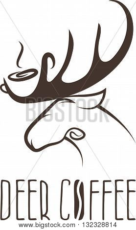Deer Coffee Negative Space Concept Vector Design Template