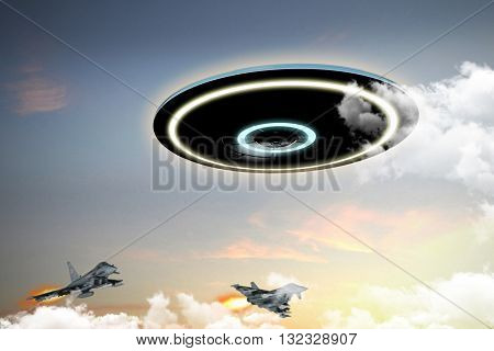 3d illustration of unidentified flying object engaged by military forces
