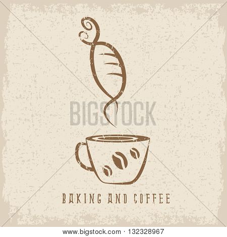 Coffee And Bakery Negative Space Concept Grunge Vector Illustration