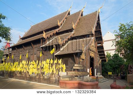 CHIANG MAI, THAILAND - JANUARY 15, 2014: The old wooden buddhist temple Wat Pantao. Religious landmark of the city Chiang Mai, Thailand
