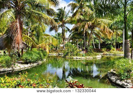 Punta Cana Dominican Republic - March 25 2010: Territory of Hotel Catalonia Royal Bavaro in Punta Cana Lake and palm trees