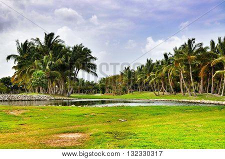 Punta Cana Dominican Republic - March 19 2010: Territory of Hotel Catalonia Royal Bavaro in Punta Cana Lake and palm trees