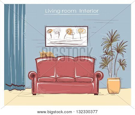Color Sketchy Interior Illustration Of Living Room.vector Hand Drawing Coach