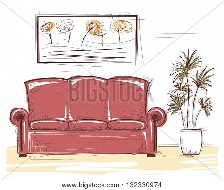 Interior color image illustration.Vector hand drawing coach