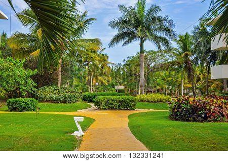 Punta Cana Dominican Republic - March 19 2010: Territory of Hotel Catalonia Royal Bavaro in Punta Cana