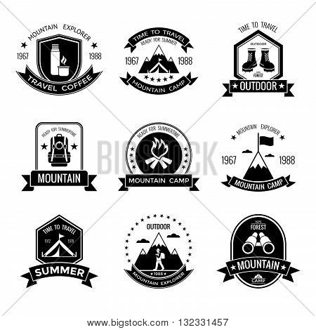 Mountain camp black white emblems with stars backpack summer tent binoculars thermos campfire footwear isolated vector illustration
