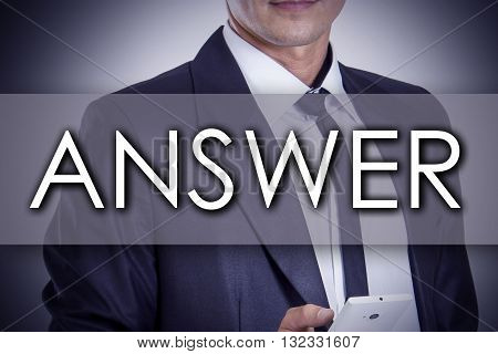 Answer - Young Businessman With Text - Business Concept