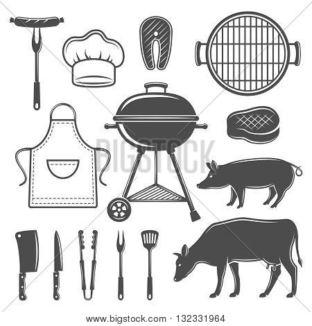 BBQ decorative graphic flat icons set with grill cooking tools cow pig apron cap isolated vector illustration