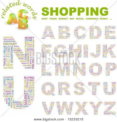 SHOPPING. Vector letter collection. Wordcloud illustration.