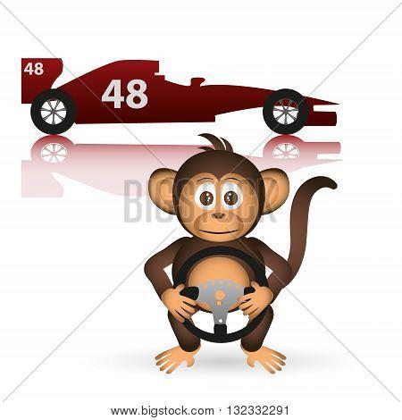 Cute Chimpanzee Formula Driver Sport Little Monkey  Eps10