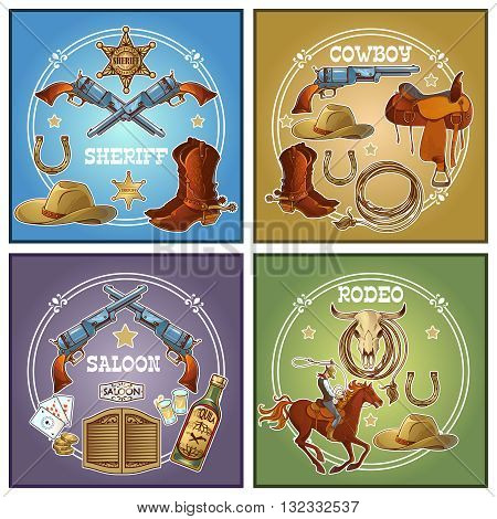 Four square wild west icon set with descriptions of equipment on rodeo and saloon or sheriff and cowboy vector illustration