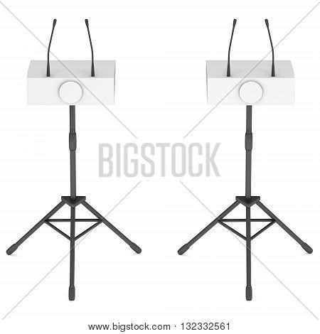 Two Speaker Podiums on Tripod. White Tribune Rostrum Stand with Microphones. 3d render isolated on white background. Debate press conference concept