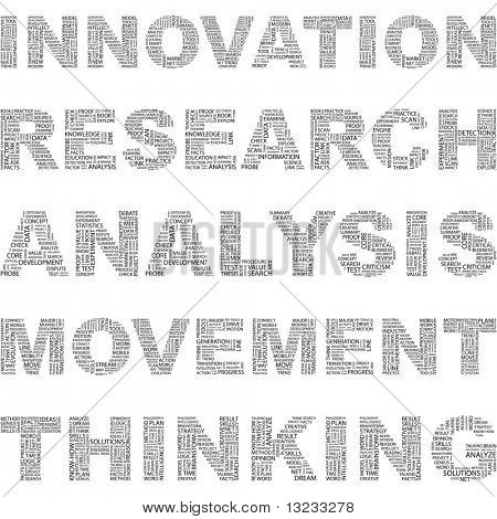 INNOVATION. Illustration with different association terms in white background.