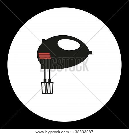Electric Mixer Simple Isolated Black And Red Icon Eps10